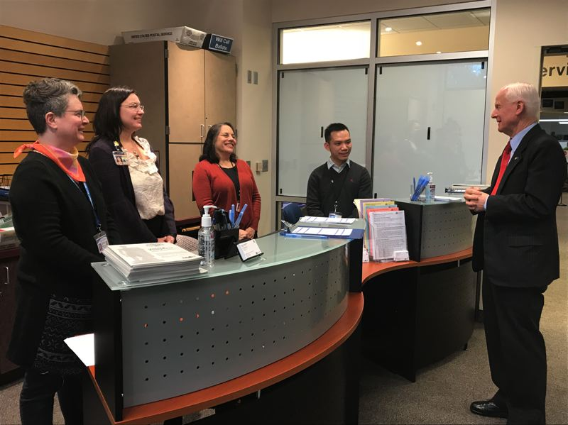 CONTRIBUTED PHOTO - Oregon Secretary of State Dennis Richardson toured the new Multnomah County Elections Voting Center Express in Gresham on Wednesday, Jan. 17.