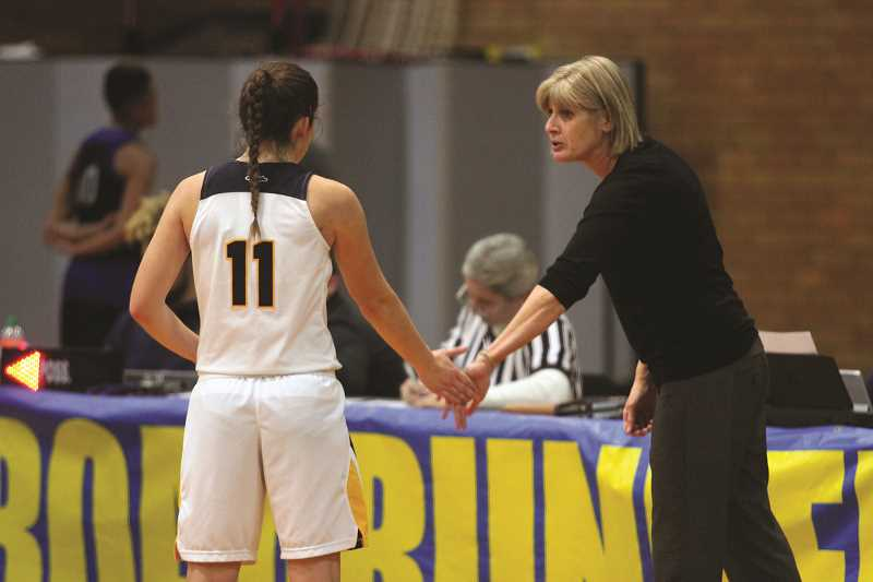PHIL HAWKINS - Kelsie Henry chats with Linn-Benton head coach Debbie Herrold during a stoppage in play on Jan. 3. Herrold recruited Henry to LBCC after the former North Marion Husky earned First Team All-Conference honors in 2016.