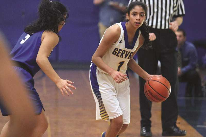 PHIL HAWKINS - Gervais freshman Celi Vasquez led the Cougars with 10 points in the team's 41-33 loss to the No. 3 Blanchet Catholic Cavaliers on Friday.