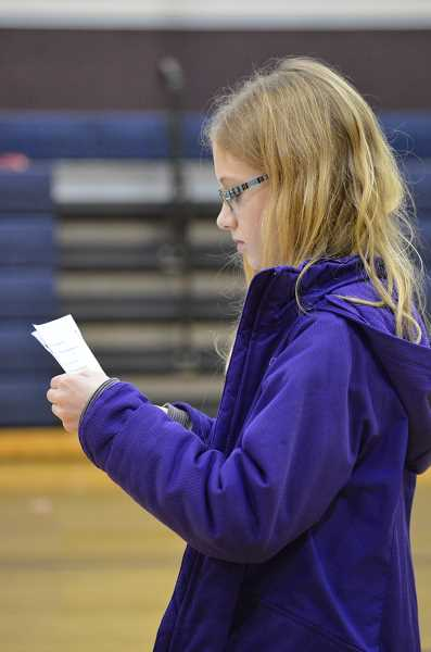 TIDINGS PHOTO: CLARA HOWELL  - Addison Woebke, 10, focuses on memorizing her lines during the Jan. 22 rehearsal.