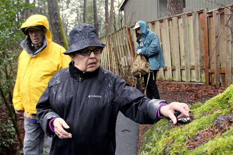 REVIEW PHOTO: SAM STITES - Kay Simons places a rock on a large boulder near a path in her Bryant Woods neighborhood.