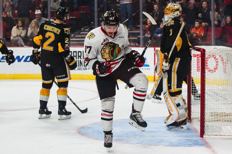 COURTESY: BEN LUDEMAN/PORTLAND WINTERHAWKS - Alex Overhardt of the Portland Winterhawks reacts to his go-ahead goal in the third period that capped a big rally and gave the home team a 4-3 win over the visiting Brandon Wheat Kings.