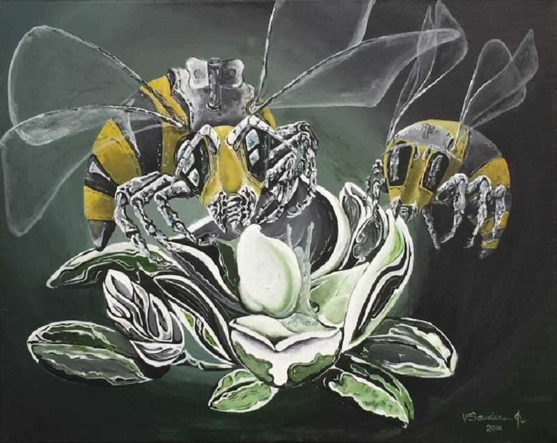CONTRIBUTED PHOTO: VERNON SOUNDERS - Vernon Sounders' painting 'Bees' is among those in the latest Wyeast Artisans Guild show.