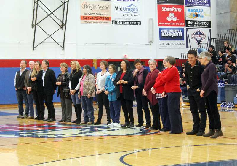 WILL DENNER/MADRAS PIONEER - Members of the 2018 Madras High School Athletics Hall of Fame class were announced during halftime of the Madras-Estacada boys basketball game Jan. 19, and inducted during a ceremony Friday at the high school commons.