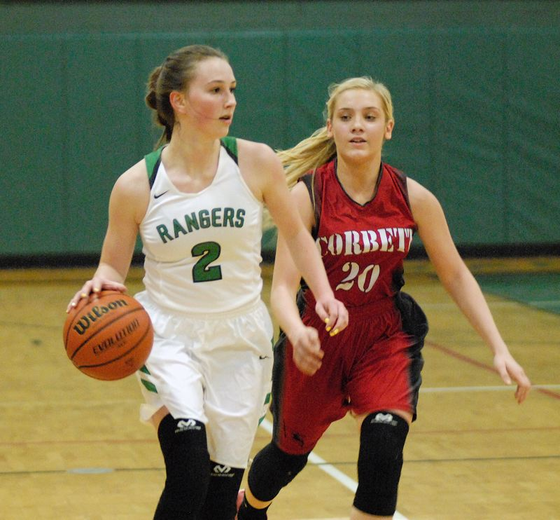 ESTACADA NEWS: MATT RAWLINGS - Estacada's MJ Jennings dribbles the ball past Corbett's Olivia Fritz