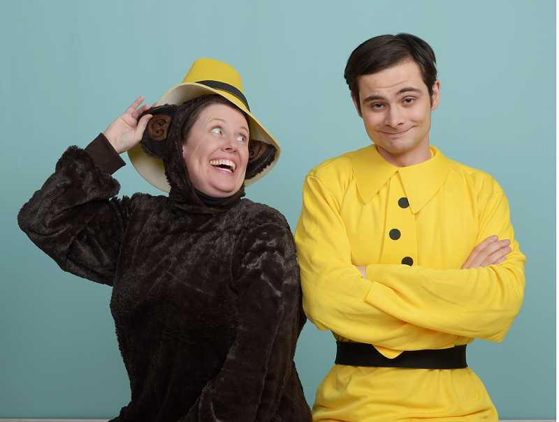 "COURTESY: BEAVERTON CIVIC THEATRE - Beaverton Civic Theatre's ""Curious George: The Golden Meatball"" stars Sarah Omniski as Curious George and Daniel Wagner as The Man In The Yellow Hat."