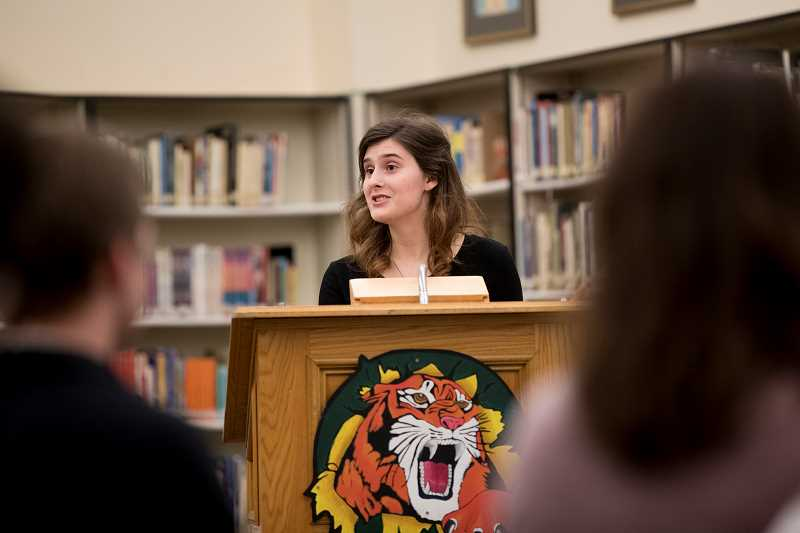 TIMES PHOTO: JAIME VALDEZ - James Kelleher, a senior at Tigard High School, speaks in favor of the Tigard-Tualatin School Board allowing access to birth control at its school-based health centers during a listening session at Tigard High School.