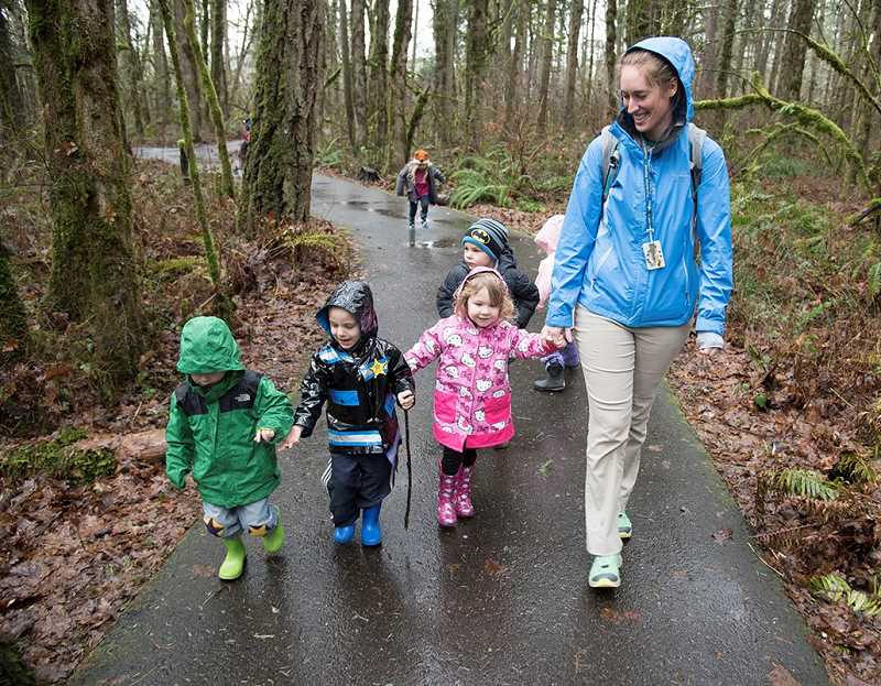 COURTESY: THPRD - An instructor leads a walk through the Tualatin Hills Nature Park as part of THPRD's Nature Kids Preschool program. Parents can learn more about the program at an open house on Saturday.