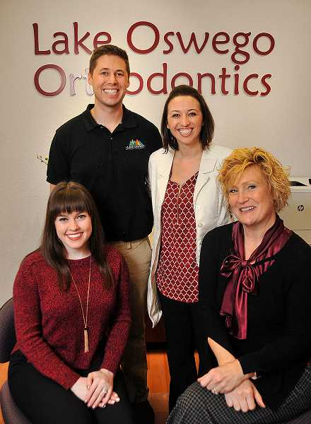 Lake Oswego Orthodontics and Periodontics staff includes from left, Sierra Katarzy, Andrew Peterson, Vanessa Peterson and Laura Rassi. Katarzy and Rassi are the patient care coordinators.
