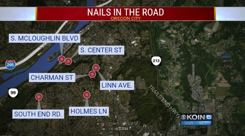 A map showing where the nails were found.