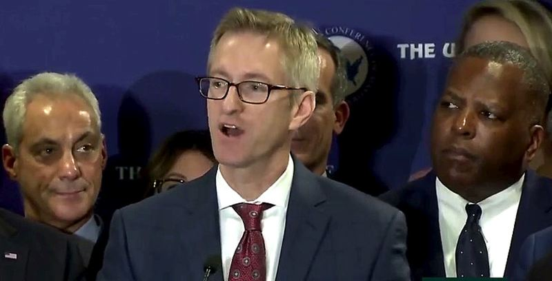 COURTESY PHOTO: CSPAN - Flanked by a dozen other mayors, Portland Mayor Ted Wheeler spoke Wednesday, Jan. 24, at the U.S. Conference of Mayors about a new federal justice department letter demanding information on sanctuary policies.