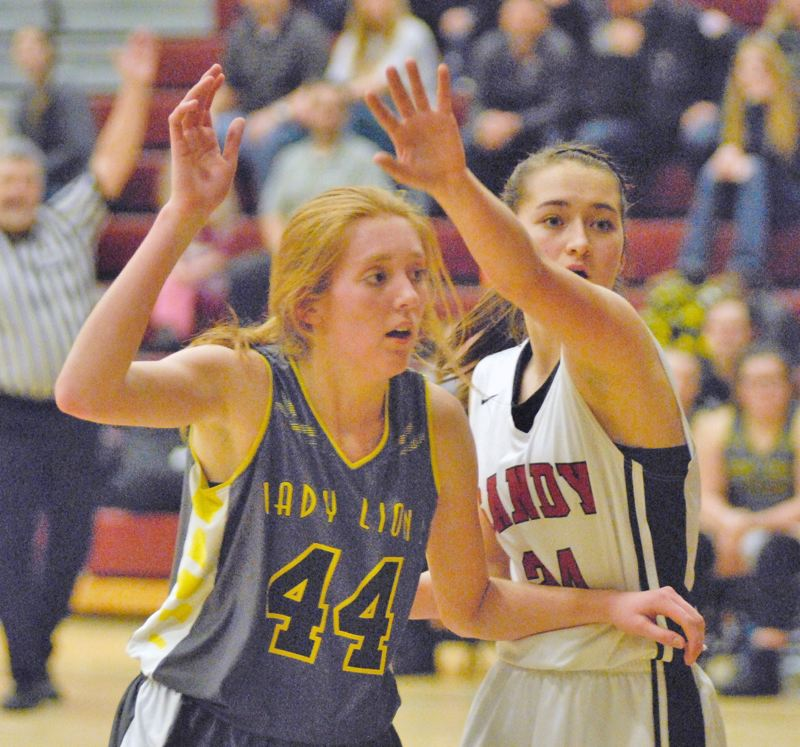 PAMPLIN MEDIA PHOTO: MATT RAWLINGS - Sophomore post Maddie Holm (44) scored 20 points in a 46-28 win Friday, Jan. 19, in Sandy, and 16 points in a 64-31 road loss to No. 3 La Salle Prep Tuesday.