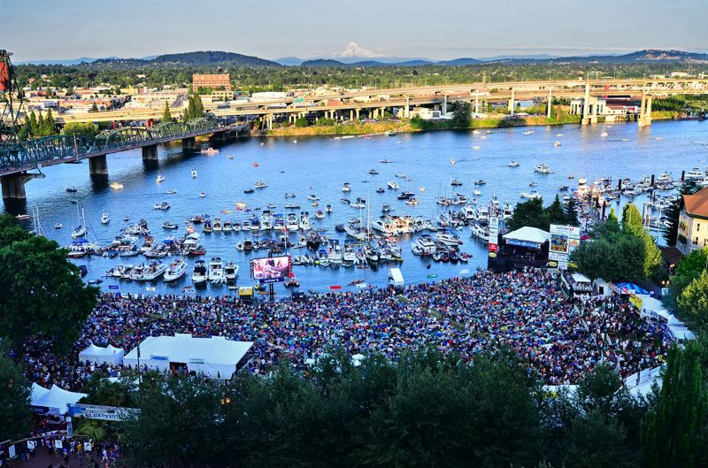 COURTESY: WATERFRONT BLUES FESTIVAL - Huge crowds gather on the banks of the Willamette River for the annual Waterfront Blues Festival.
