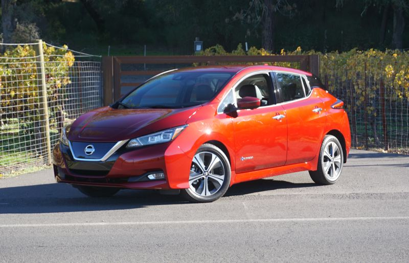 PORTLAND TRIBUNBE: JEFF ZURSCHMEIDE - The completely redesigned Nissan Leaf is on display at the 2018 Portland International Auto Show.