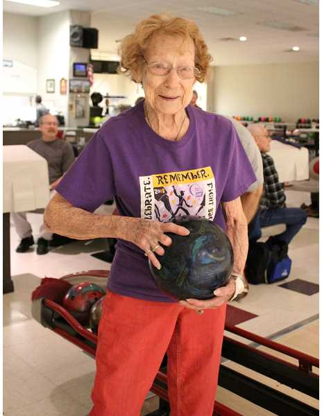 HOLLY SCHOLZ/CENTRAL OREGONIAN   - At 95, Shirley Hoefle is the oldest member of the Senior Bowling League at Rimrock Lanes and has bowled for several decades.