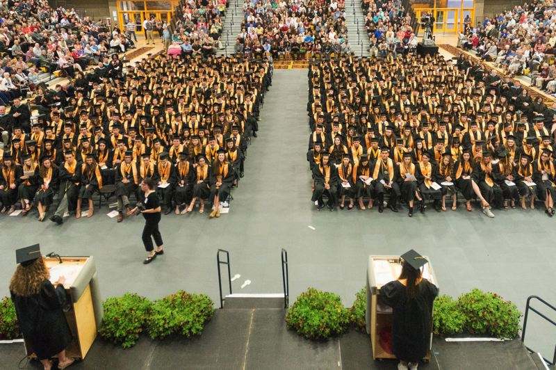 FILE PHOTO: CHRISTOPHER OERTELL - The Class of 2017 at Forest Grove High School listens to speakers at its graduation ceremony.