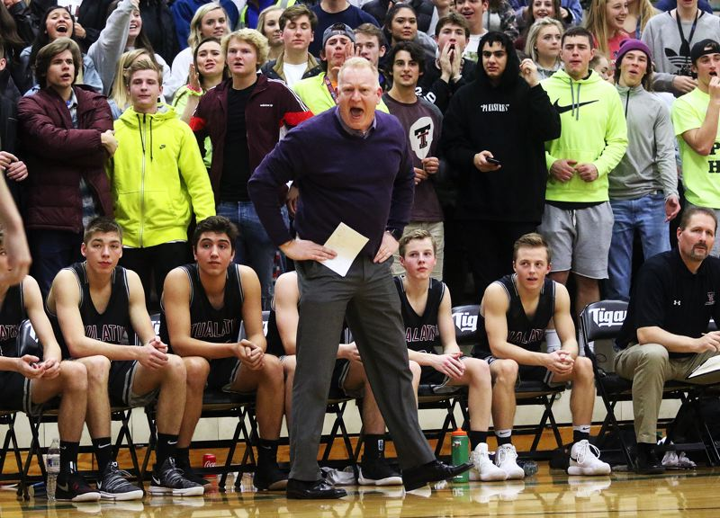 DAN BROOD - Tualatin coach Rick Osborn yells out during the game at Tigard.