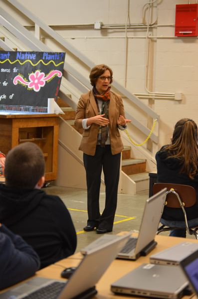 SPOTLIGHT PHOTO: NICOLE THILL - U.S. Rep. Suzanne Bonamici speaks with a class of seventh-grade students at Scappoose Middle School on Monday, Jan. 22. The congresswoman spent time in the classroom chatting with students and answering questions before the students showed her what programs they use in their design and modeling class.