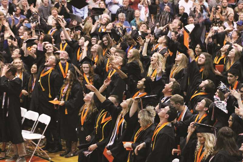 PIONEER FILE PHOTO - Molalla High School grads celebrate in 2017.