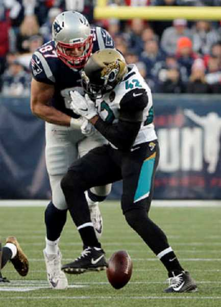 KOIN NEWS FILE PHOTO - New England's Rob Gronkowski suffered a concussion following this hit during last weekend's AFC Championship Game. The Patriots won the game and will play the Philadelphia Eagles in the Super Bowl Feb. 4.