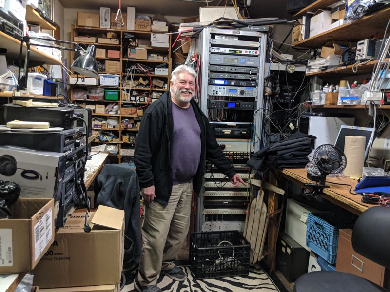 TRIBUNE PHOTO: JOSEPH GALLIVAN  - Tom Hood, chief engineer of KBOO Radio, was a boy when the station's first operating license was signed in his dad's living room. Ern Hood was a cofounder of the station 50 years ago. #roseud