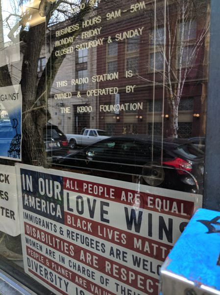 TRIBUNE PHOTO: JOSEPH GALLIVAN  - The entrance to KBOO radio on Southeast 8th Avenue. The station is known for being welcoming and for giving free training in audio production, which has served other radio stations such as OPB well.