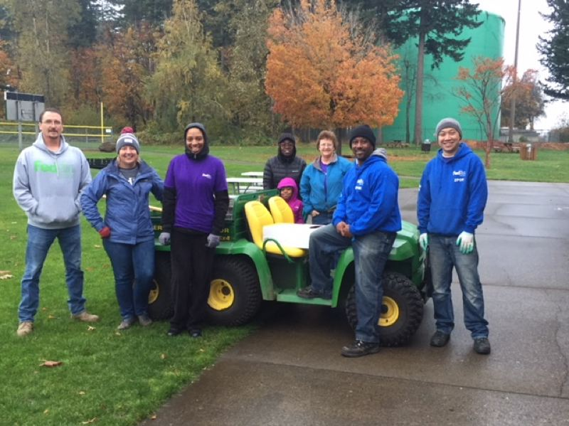 CONTRIBUTED PHOTO - Members of a FedEx Ground work party pose for a photo on Saturday, Nov. 4, after a hard day of work at Columbia Park in Troutdale.