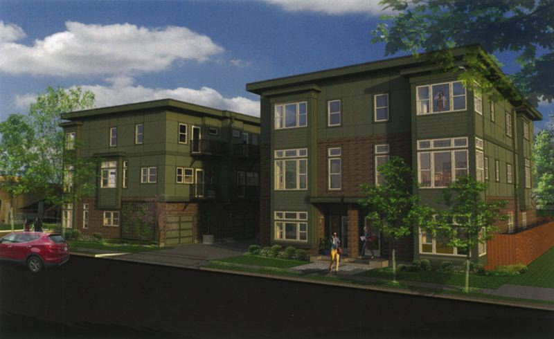 COURTESY RENDERING - The three-story development depicted here consists of seven townhomes split between two buildings.