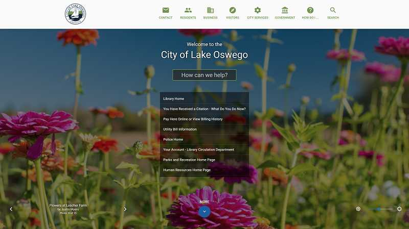 PHOTO COURTESY OF THE CITY OF LAKE OSWEGO - The City of Lake Oswego's new website puts the enhanced search options front-and-center, with a bigger search box and a list of the top eight most-asked recent questions.