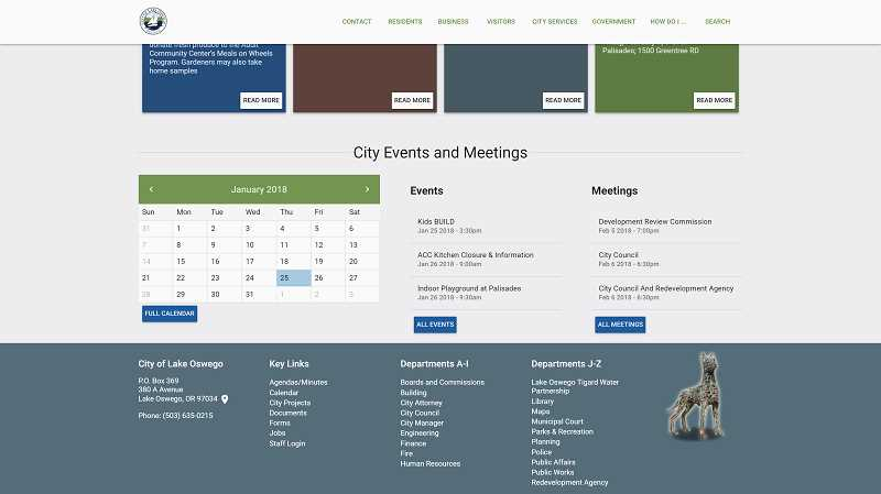 PHOTO COURTESY OF THE CITY OF LAKE OSWEGO - All of the same information and functions are present in the City of Lake Oswego's new site, but revamped with a new color scheme that matches the City's logo.