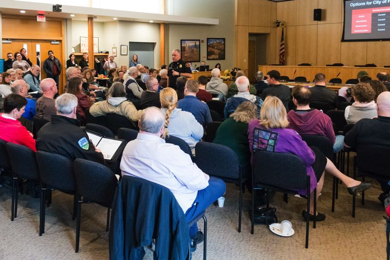 STAFF PHOTO: CHRISTOPHER OERTELL - Dozens of Forest Grove-area residents came out Saturday morning for the city's annual town meeting in the Forest Grove Community Auditorium.
