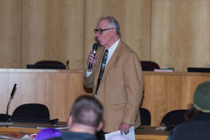 STAFF PHOTO: CHRISTOPHER OERTELL - Forest Grove Mayor Pete Truax opened the city's annual town meeting Saturday, noting Forest Grove Fire & Rescue's place in the community. Forest Grove is one of several city-based fire agencies in western Washington County that have not joined Tualatin Valley Fire & Rescue, which covers many of Portland's Westside suburbs.
