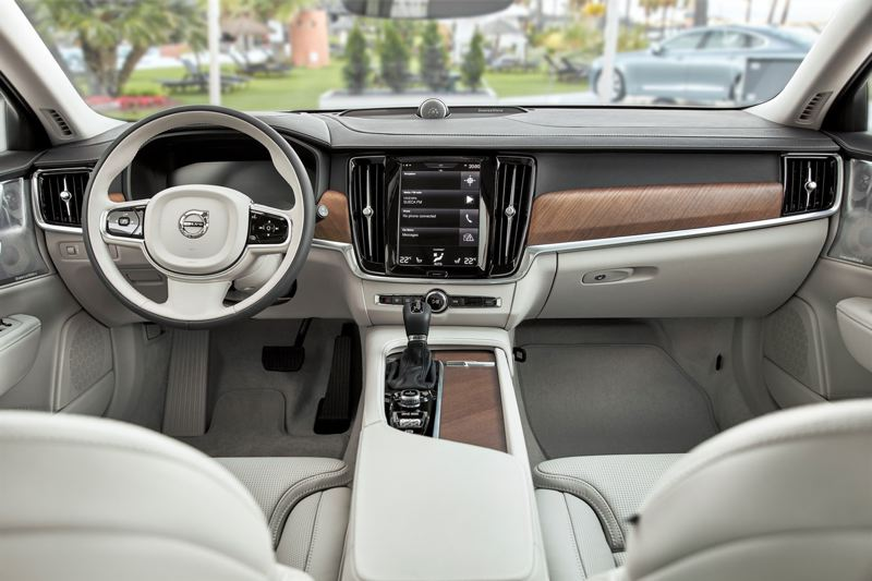 COURTESY VOLVO - The interior of the 2018 Volvo S90 T6 AWD Inscription is refined and features a 12-inch swipe and touch screen.