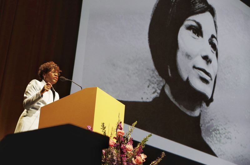 PORTLAND TRIBUNE: JONATHAN HOUSE - Former state Sen. Margaret Carter praised the late Mayor Vera Katz at Sunday's celebration of her life at the Portland Art Museum. Carter served in the Oregon Legislature with KAtz.