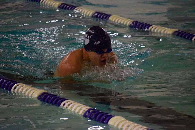 SPOKESMAN PHOTO: TANNER RUSS - Wildcat sophomore Vincent Nguyen captured first place in the 200-yard IM and the 500-yard freestyle races against Sandy.