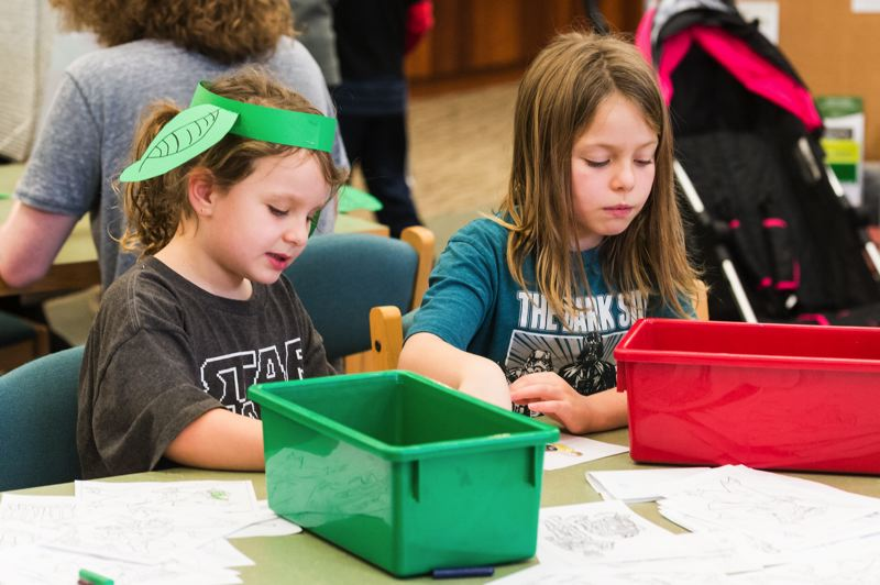 """STAFF PHOTO: CHRISTOPHER OERTELL - Stella Demanett, 5, and Emerson Demanett, 9, both from Forest Grove, color Star Wars coloring sheets during the """"Be a Library Jedi"""" event at the Forest Grove City Library."""
