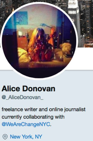 TWITTER - A screen shot of Alice Donovan's Twitter profile.