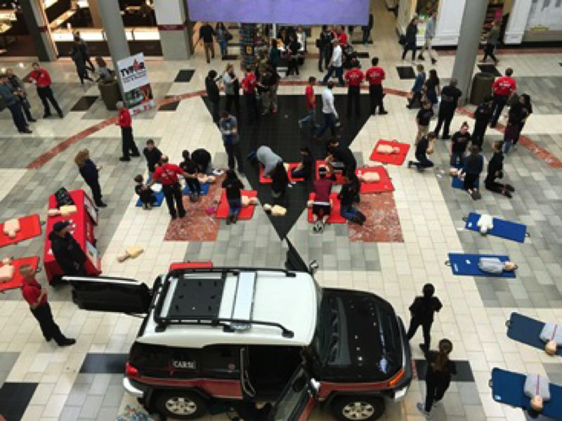 PHOTO COURTESY: TVF&R - CPR training at Washington Square Mall.