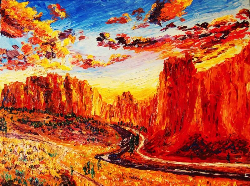COURTESY PHOTO: GRESHAM ART COMMITTEE - A featured painting by Eryn Tehan depicts Smith Rock at sunset.