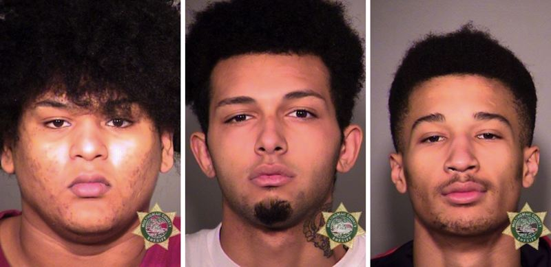 CONTRIBUTED PHOTO: MULTNOMAH COUNTY SHERIFFS OFFICE - FROM LEFT: Lamarr Juan Luster Jr., 19, Kobe Branden Cordray, 20 and Antonio Trayvontae Montgomery, 18.