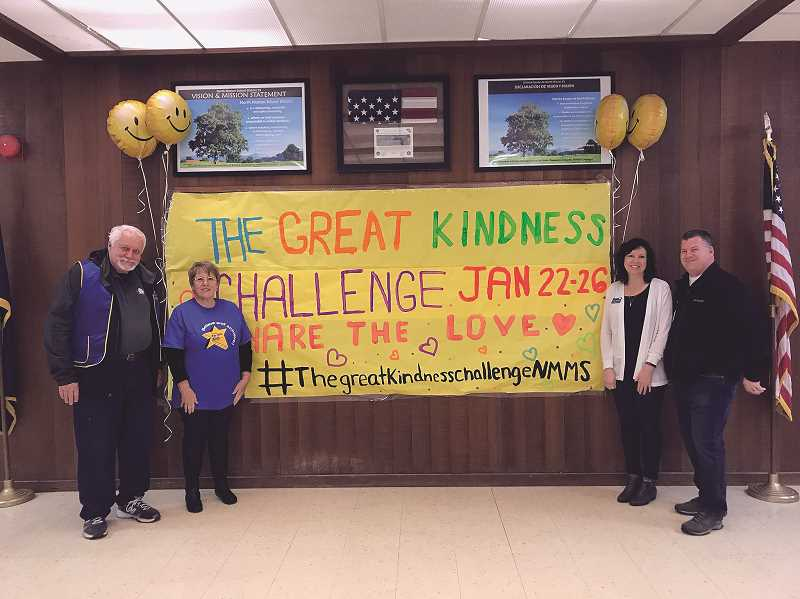 COURTESY PHOTO: NORTH MARION MIDDLE SCHOOL - Schools participating in the Great Kindness Challenge invited community groups to come in and greet students in the morning last week, including Woodburn Kiwanis at North Marion Middle School.