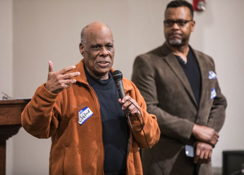 TRIBUNE PHOTO: JONATHAN HOUSE - Clifford Walker speaks in favor of changing the name of Jefferson High School during a community meeting on Monday.