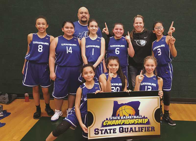 PHIL HAWKINS - The Woodburn girls sixth-grade basketball team placed first in its Jan. 13 tournament to qualify for the 2018 Middle School State Championship tournament.