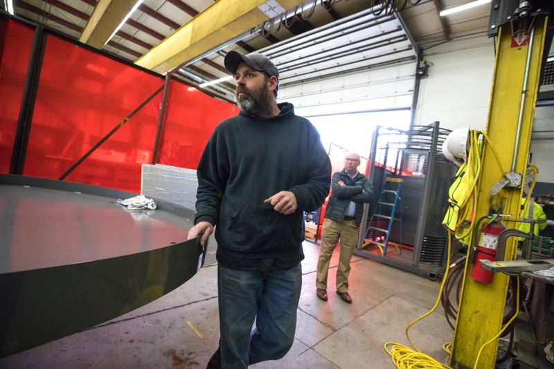 PORTLAND TRIBUNE: JONATHAN HOUSE - Madden Fabrication's lead fabricator Jason Parker talks about the construction process of the outdoor bathroom.