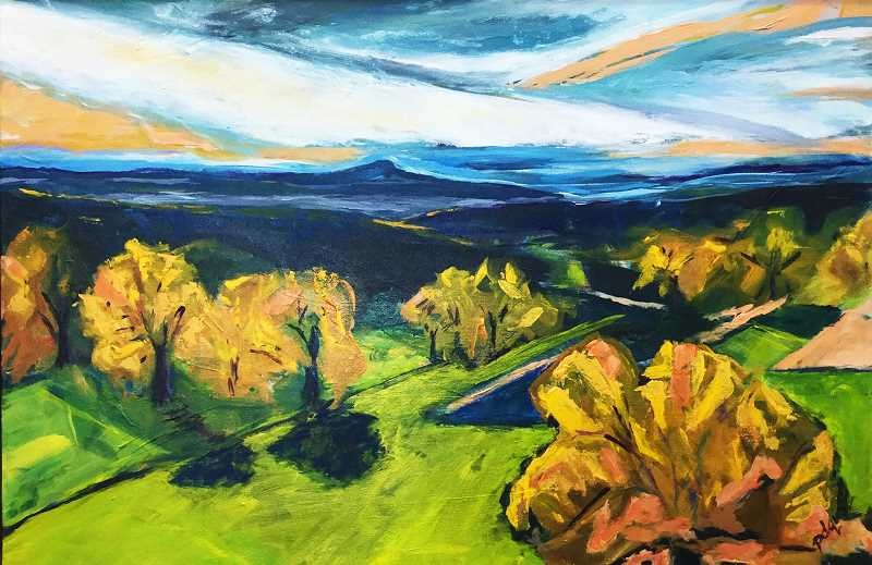 SUBMITTED - 'Autumn View' is an example of some of Pam Quataert's work on display at Coldwell Banker for Friday's Art Walk.