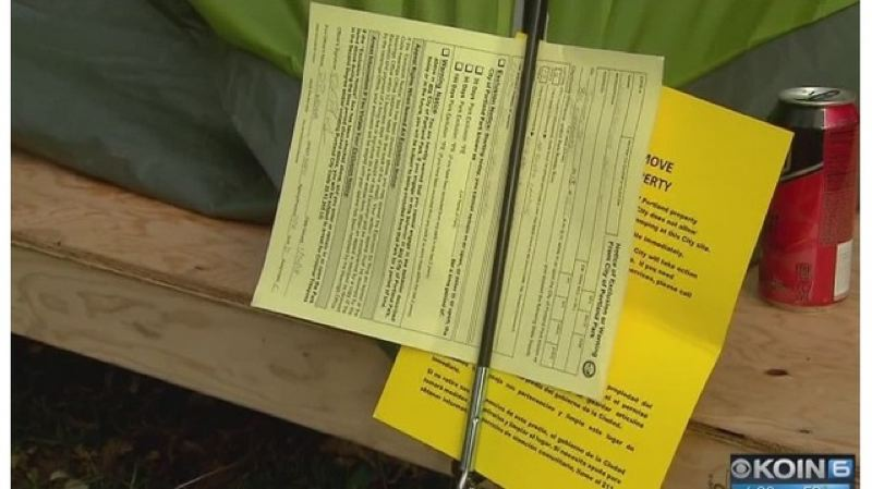 KOIN 6 NEWS - The city posted these eviction notices at the Village of Hope on Tuesday.