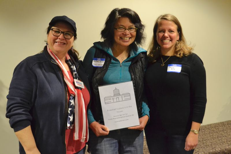 POST PHOTO: BRITTANY ALLEN - Candidate for Clackamas County Clerk Pamela White, undeclared candidate for House District 52 Aurora del Val, and candidate for Senate District 26 Chrissy Reitz.