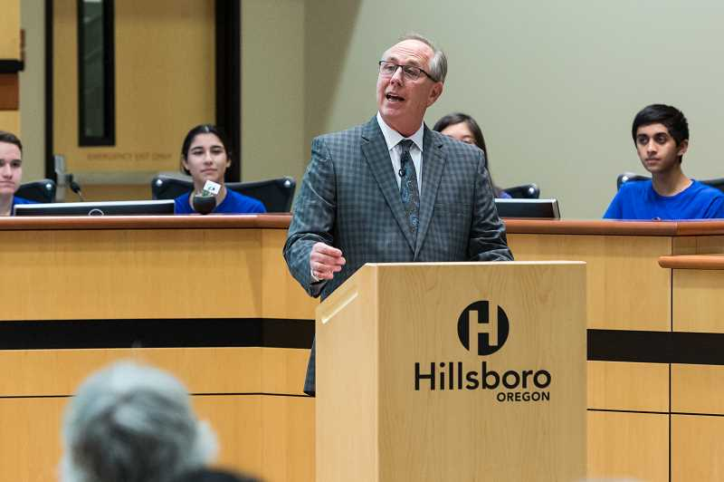 STAFF PHOTO: CHRISTOPHER OERTELL - Hillsboro mayor Steve Callaway addresses a standing-room-only crowd at Hillsboro Civic Center, Tuesday night.