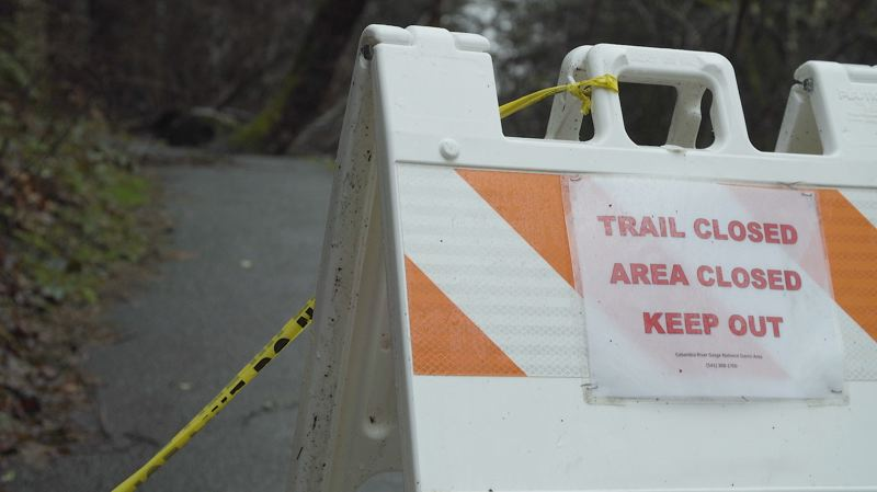 COURTESY PHOTO - A sign warns hikers about a closed trail near Multnomah Falls in the Columbia River Gorge.