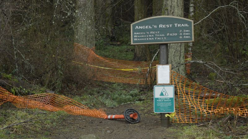 COURTESY PHOTO - Angel's Rest Trail, the Wahkeena Falls loop and the Larch Mountain Trail that climbs to the top of Multnomah Falls are all currently closed.